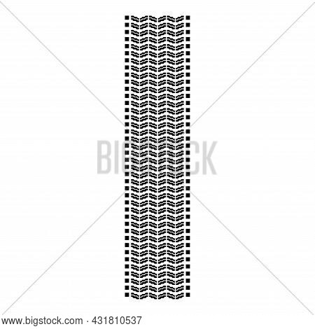 Tire Track Print Of Wheel Automobile Tyres Imprint Car Icon Black Color Vector Illustration Flat Sty
