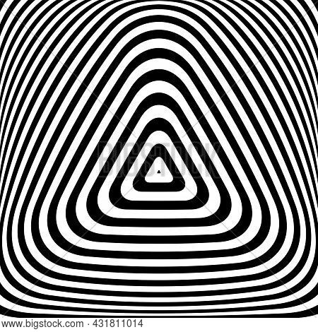 Abstract Op Art Triangle Lines Convex Pattern. Vector Illustration.