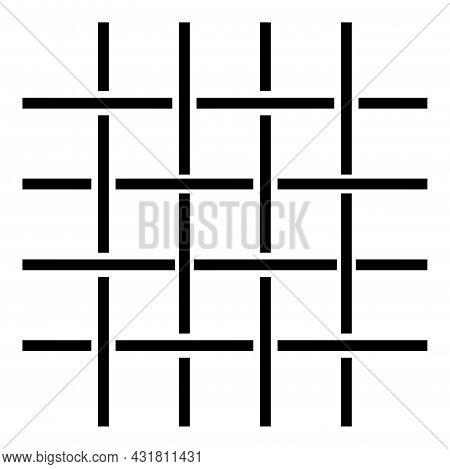Fabric Fibers Grid Cloth Textile Icon Black Color Vector Illustration Flat Style Simple Image