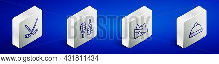 Set Isometric Line Ice Hockey Sticks, Snowshoes, Mountain Descent And Winter Hat Icon. Vector