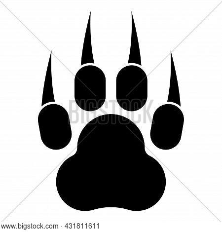 Print Paw Wild Animal With Claw Track Footprint Predatory Pawprint Icon Black Color Vector Illustrat