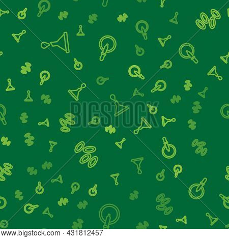 Set Line Funnel Or Filter, Hemoglobin And Petri Dish With Pipette On Seamless Pattern. Vector