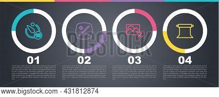 Set Line Camera Timer, Exposure Compensation, Photo Retouching And Empty Photo Studio. Business Info