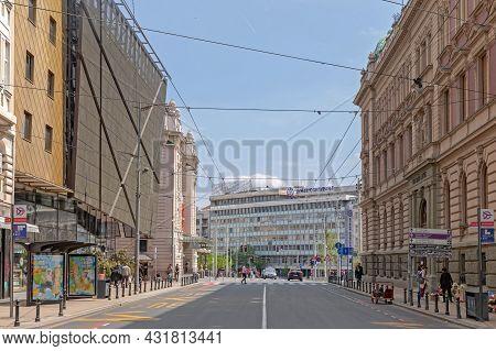 Belgrade, Serbia - May 03, 2021: City Center Belgrade Capital Of Serbia At Sunny Spring Day.