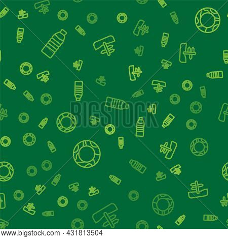 Set Line Bottle Of Water, Rubber Swimming Ring And Road Traffic Sign On Seamless Pattern. Vector