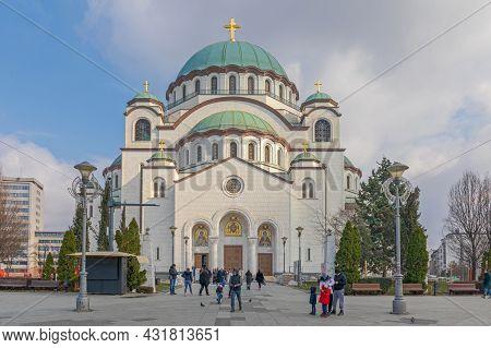 Belgrade, Serbia - February 14, 2021: Big White Marble Saint Sava Orthodox Church.