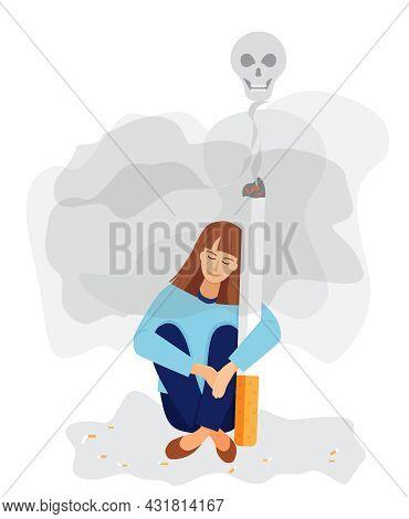 A Girl Hugs A Big Smoking Cigarette. A Smiling Skull Hangs In The Smoke. Nicotine Addiction, Harmful