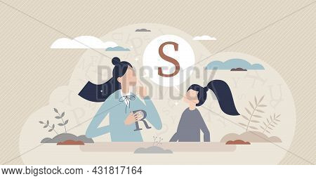 Speech Therapist For S Or R Letter Pronunciation Problems Tiny Person Concept. Communication Correct