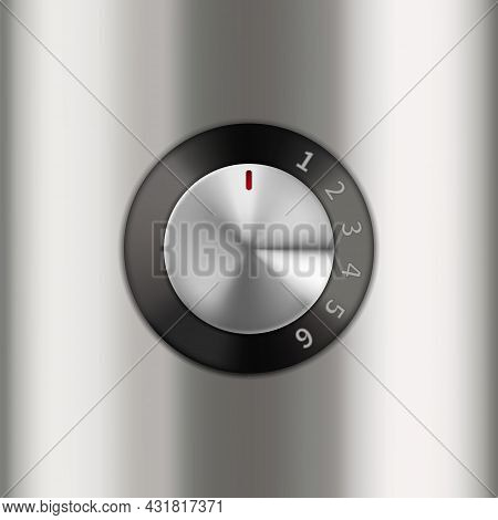 Dial Knob Electronic Device Speed Control Vector. Metallic Food Processor Turning Level Dial Knob Co