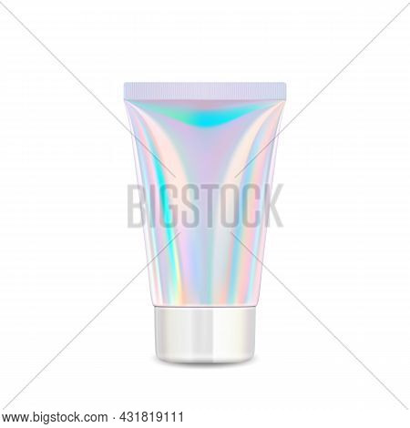 Cream Cosmetic Glossy Blank Tube Package Vector. Hygiene Moisturizing Lotion Tube Container With Cap