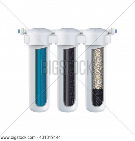 Water Filtering System With Filter Layers Vector. Blank Cartridges With Charcoal, Sieving, Adsorptio