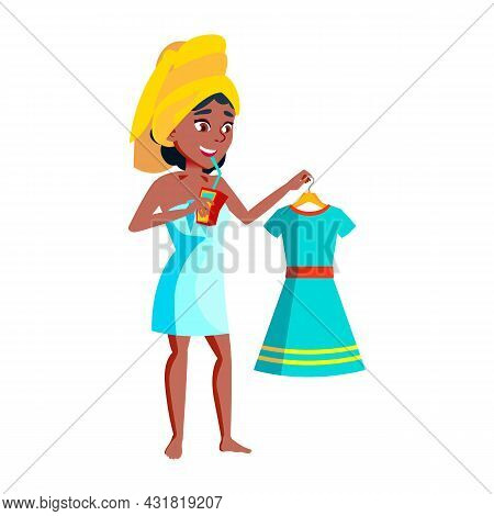 Teen Girl Drinking Juice And Getting Ready Vector. African Teenager Lady Drinking Juicy Beverage Fro
