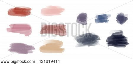 Rainbow Watercolor Brush Stroke Stripes Isolated On White. Colorful Painted Grunge Stripes Set. Vect