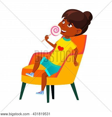 School Girl Child Eating Lollipop Candy Vector. African Schoolgirl Sitting On Armchair And Enjoying