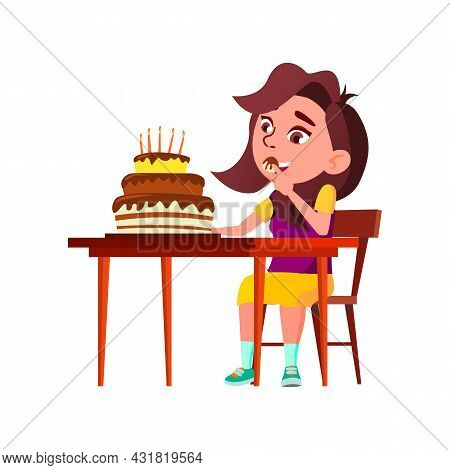 School Girl Kid Eating Birthday Cake Food Vector. Schoolgirl Enjoying Celebrative Chocolate Cake Dec