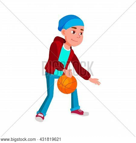 School Boy Playing Basketball Sport Game Vector. Caucasian Schoolboy Play And Training Basketball Wi