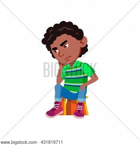 School Boy Sitting On Chair And Thinking Vector. Sad African Schoolboy Kid Sit On Seat And Thinking