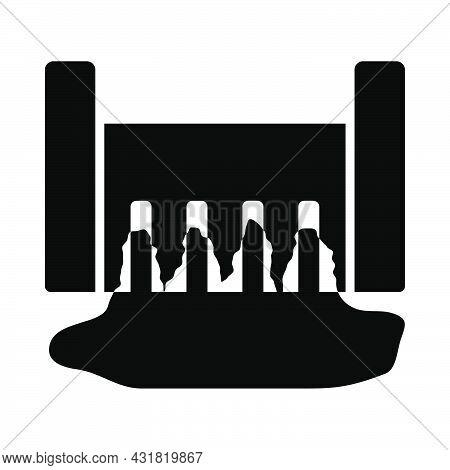 Hydro Power Station Icon. Black Stencil Design. Vector Illustration.
