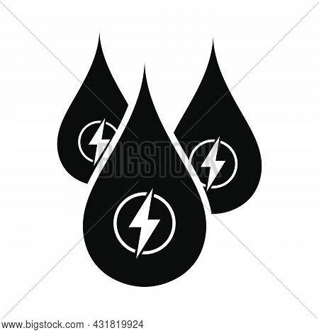 Hydro Energy Drops Icon. Black Stencil Design. Vector Illustration.