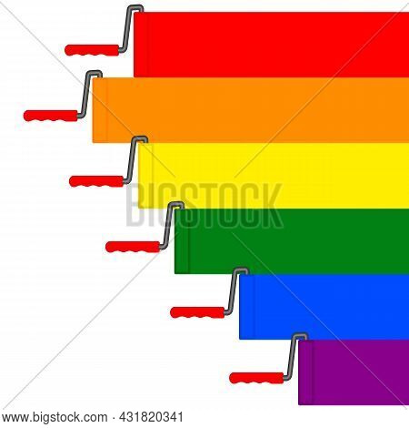 Lgbt Flag Style Colored Stripes. Paint Roller And Straight Multi-colored  Stripes On White Backgroun