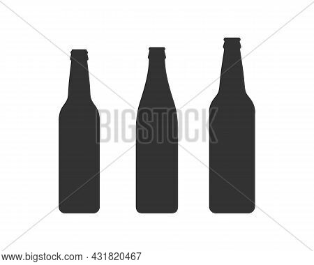 Beer, Bottle, Vector, Icon, Glass, Silhouette, Illustration, Background, Graphic, Sign, Symbol, Vect