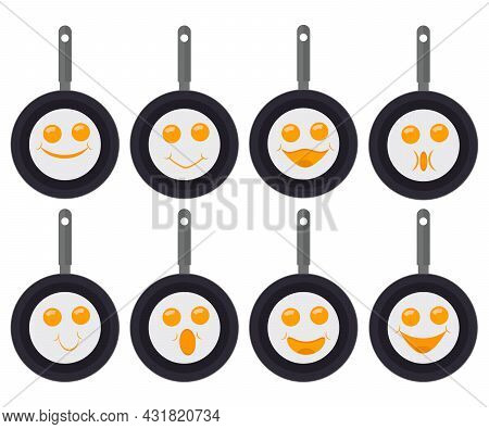 Fried Eggs Emoticons, Smiley And Emoji. A Set Of Fried Eggs In Pans With Eyes And A Smiles. Vector I