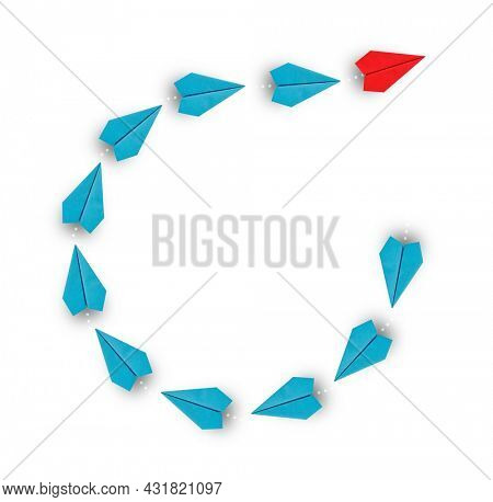Red paper plane leading a group of blue paper planes changes direction, Business concept