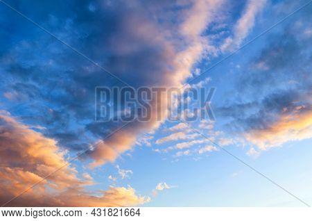 Sunset sky background, bright sunset sky landscape, orange and pink clouds. Sky landscape.Sky background.Dramatic blue sky background,scenic sky landscape,sky panoramic scene,sunny blue sky, sky landscape,blue sky view