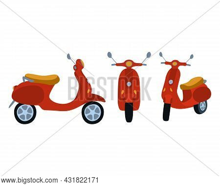 Vector Illustration Of A Motorcycle. Set For Riding A Transport Motorcycle. Illustration For Childre