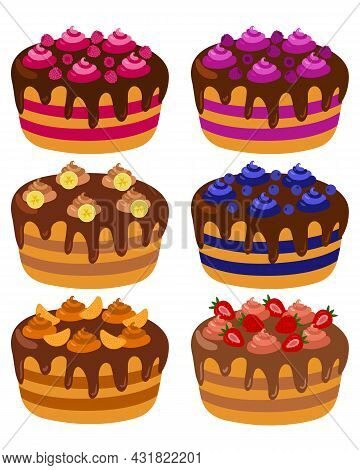 Large Set Of Cakes With Banana, Strawberry, Raspberry, Blueberry, Blackberry, Tangerine, Chocolate A