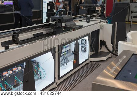 Close-up Electric Cnc Tube Benders. High-tech Expo In Poland.