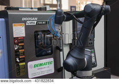 Close-up Robot Doosan Arm, High-tech Expo In Poland.