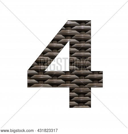 Number Four (4) Synthetic Rattan Background. Woven Wicker