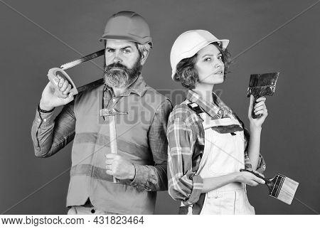Woman Builder Hard Hat. Man Engineer Or Architect. Construction Site. Interior Renovation. Creating