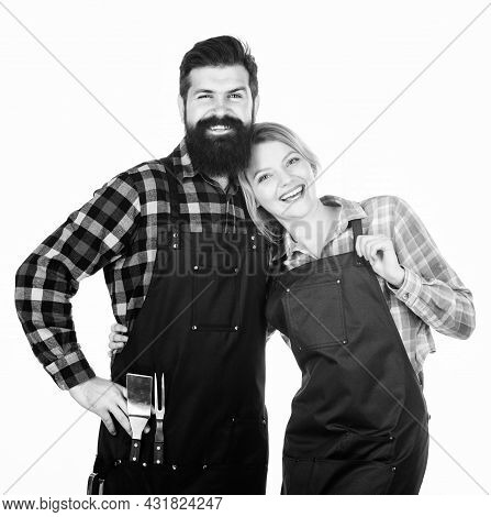 Man Bearded Guy And Girl Ready For Barbecue White Background. Picnic And Barbecue. Backyard Barbecue