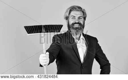 Bearded Man Cleaning With Mop. Janitor In Gloves. Husband Cleaning House. Housework And Domestic Dut