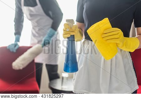 Cropped View Of Chambermaid Holding Rag Near Blurred Colleague