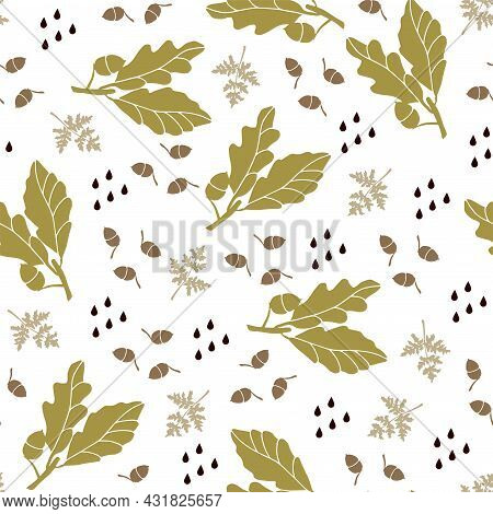 Set Of Ornaments Made Of Oak Leaves And Acorns. Vector Illustration