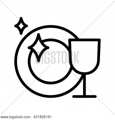 Clean Dishes Flat Line Icon. Shiny Plate Stack, Wash Kitchen Utensil, Pile Tableware. Outline Sign F