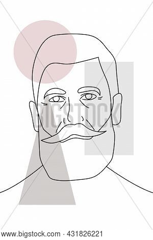 Portrait Of An Old Man With A Beard And Mustache In The Style Of Line Art On A White Background With
