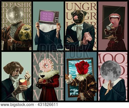 Creative Collage Made Of Portraits Of Model Like Medieval Royalty Person In Vintage Clothing. Concep
