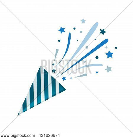 Blue Party Popper With Confetti On White Background. Birthday Concept. Vector Stock