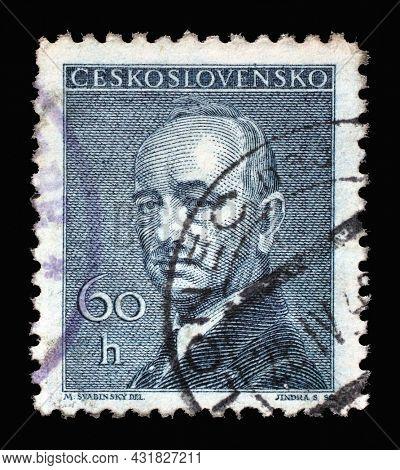 ZAGREB, CROATIA - SEPTEMBER 18, 2014: Stamp printed in Czechoslovakia shows President Eduard Benes, circa 1946