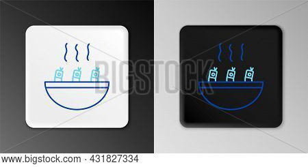 Line Soup With Shrimps Icon Isolated On Grey Background. Tom Yum Kung Soup. Colorful Outline Concept