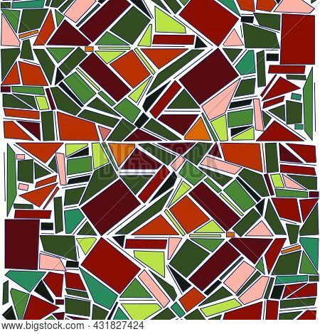 Hand Drawn Abstract Pattern Made In Vector In Stained Glass Style
