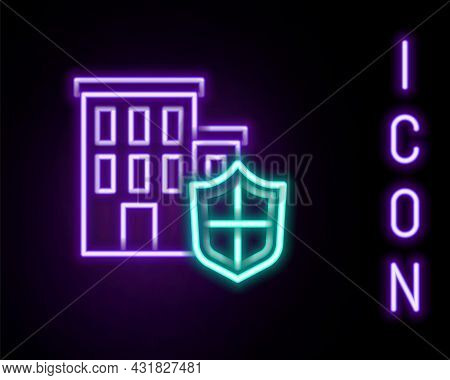 Glowing Neon Line House With Shield Icon Isolated On Black Background. Insurance Concept. Security,