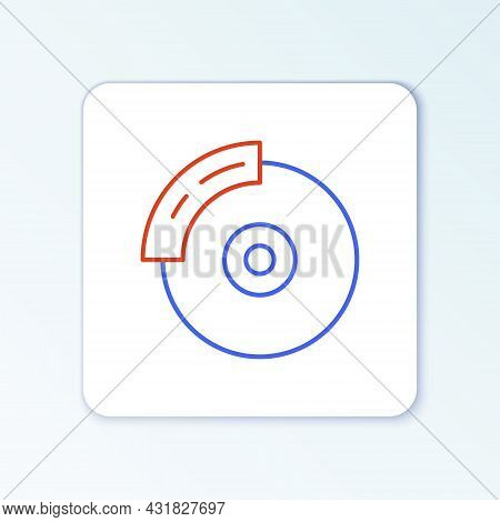Line Car Brake Disk With Caliper Icon Isolated On White Background. Colorful Outline Concept. Vector