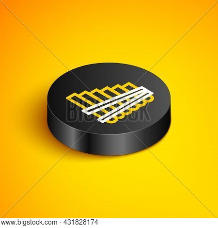 Isometric Line Pan Flute Icon Isolated On Yellow Background. Traditional Peruvian Musical Instrument