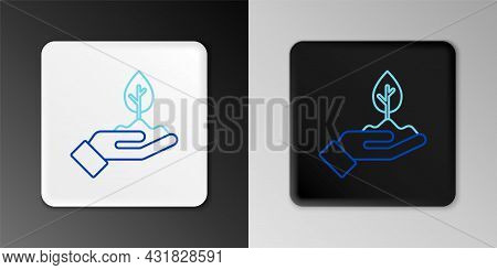Line Plant In Hand Of Environmental Protection Icon Isolated On Grey Background. Seed And Seedling.