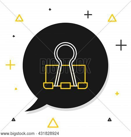 Line Binder Clip Icon Isolated On White Background. Paper Clip. Colorful Outline Concept. Vector